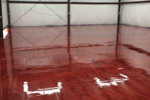 Metallic Epoxy Floor Ruby Red